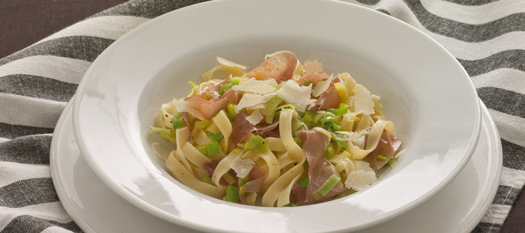 Tagliatelle with , Leeks and Parma Ham