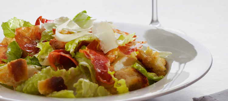 Parmigiano-Reggiano cheese, and Parma Ham Caesar Salad