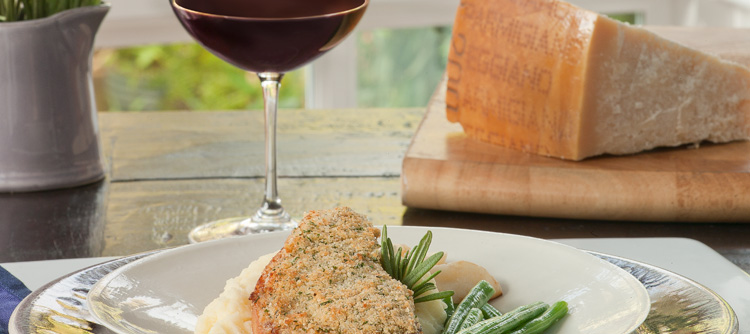 Parmigiano-Reggiano cheese, , Brioche and Herb Crusted Pork Chops