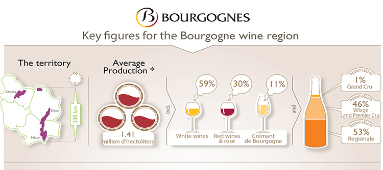Key figures of the Bourgogne winegrowing region in 2018