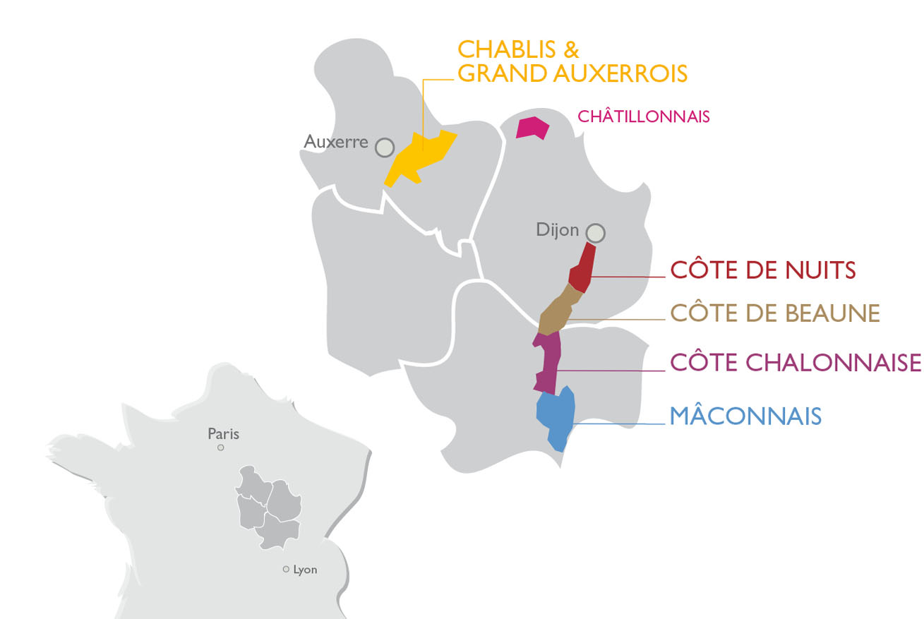 Map of Bourgogne and its five wine-producing regions