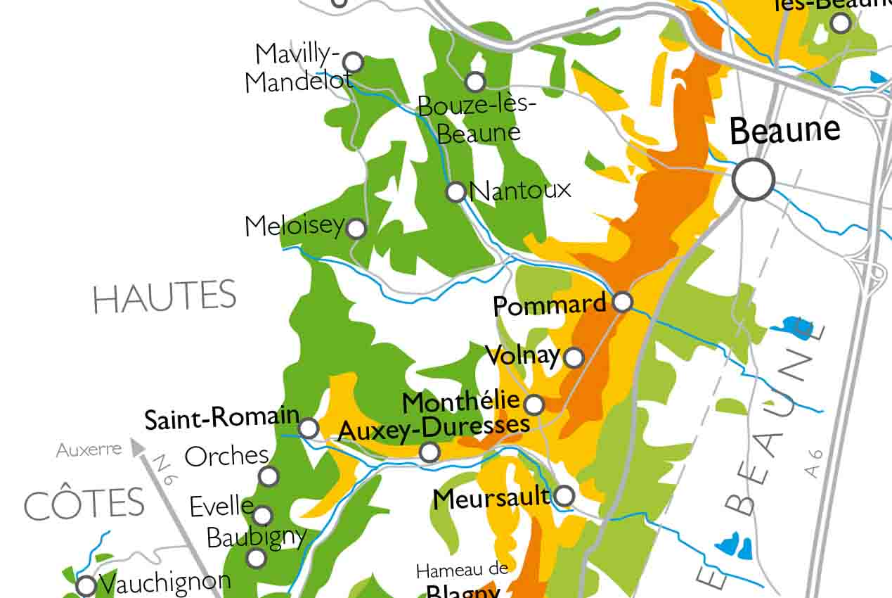 Map of the Côte de Beaune and Hautes Côtes de Beaune