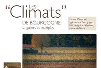 A poster of the unique and varied Climats of the Bourgogne winegrowing region