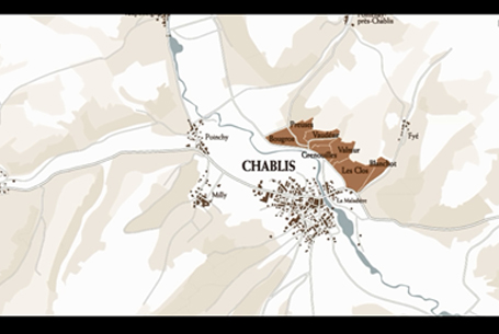 The Chablis winegrowing region seen from the sky